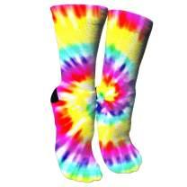 TMVFPYR Tye Dye Youth Pretty Cotton Moisture Wicking Extra Heavy Cushion Crew Socks