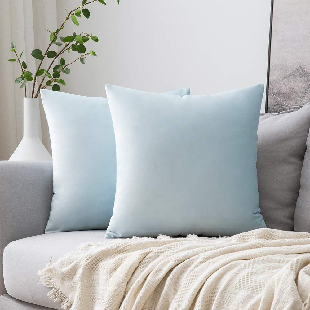 MIULEE Pack of 2 Velvet Pillow Covers Decorative Square Pillowcase Soft Solid Cushion Case for Sofa Bedroom Car 22 x 22 Inch Baby Blue