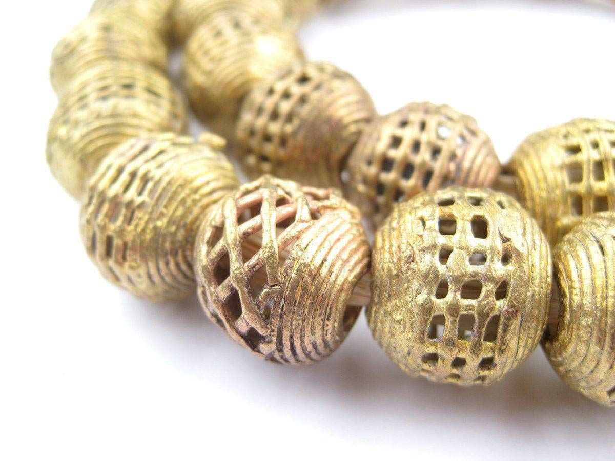 Round Brass Filigree Beads - Full Strand of Fair Trade African Metal Beads - The Bead Chest (16mm, Basket)