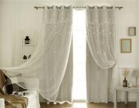 Lotus Karen Princess Curtains for Girls Bedroom Double Layer Hollowed Star Lace Valance Beige Grommet Blackout Curtain 2 Panels Set