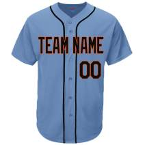 Pullonsy Light Blue Custom Baseball Jersey for Men Women Youth Practice Stitched Team Name & Numbers S-8XL - Design Your Own