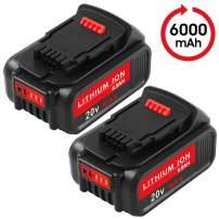 6.0Ah 20 Volt Max Lithium Ion Premium Battery for Dewalt 20V Battery DCB205 DCB204 DCB206 DCB205-2 DCB200-2 DCB180 DCD985B DCB200 DCD771C2 DCS355D1 DCD790B Dewalt DCD/DCF/DCG Series