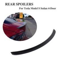 JC SPORTLINE fits Tesla Model S 60D 75D P85 P90D P100D 2012-2020 Carbon Fiber Rear Trunk Spoiler CF Deck Lip Wing(Gloss Black)