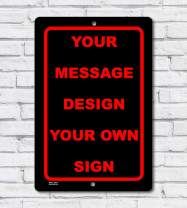 BA IMAGE Personalized Custom Black 015 Aluminum Metal Sign with Your Message! (12x18 Black w/Red, Vertical)