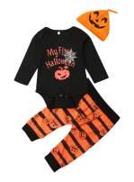 VISGOGO Newborn Baby Boys Girls My First Halloween Romper Pumpkin Pants Hat 3Pcs Outfits Clothes Set