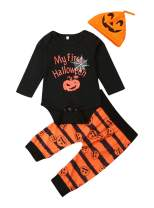 VISGOGO Newborn Baby Boys Girls My First Halloween Romper Pumpkin Pants Hat 3Pcs Outfits Clothes Set