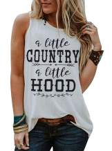 A Little Country A Little Hood Letter Print Tank Top Women Country Music Racerback Tank Top Summer Funny Saying Shirt