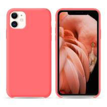 HONOVI iPhone 11 Open Bottom Liquid Silicone Case, Slim Anti Slip Case, Soft Touch Rubber Phone Case with Microfiber Lining for iPhone 11 6.1 Inch - Coral Pink