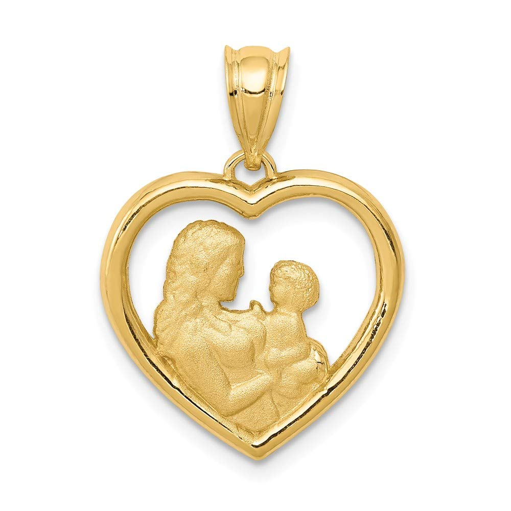 14k Yellow Gold Mom/baby Heart Pendant Charm Necklace Special Person Kid Love S/love Message Fine Mothers Day Jewelry For Women Gifts For Her