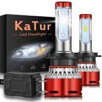 KATUR H7 Led Headlight Bulbs CSP Chips Mini Design Super Bright 12000LM Waterproof Headlight Conversion Kit 60W 6500K Xenon White-2 Years Waranty