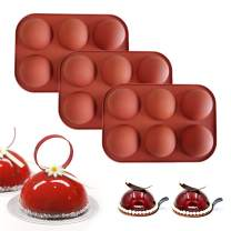 DIY Semi Sphere Silicone Mold,3Pack/Set 6 Holes Sphere Baking Mould for Making Hot Chocolate,Cake,Jelly,Pudding,Dome Mousse,Soap,DIY Biscuit Baking (Red)