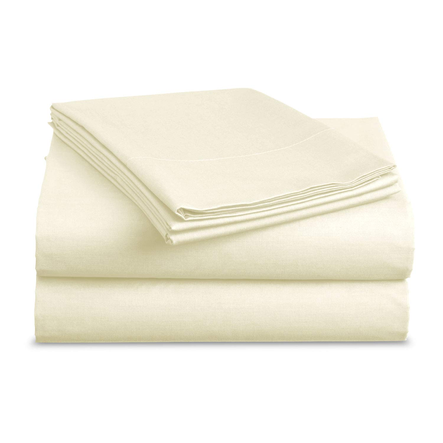 BASIC CHOICE Bed Sheet Set - Brushed Microfiber 2000 Bedding - Wrinkle, Fade, Stain Resistant - Hypoallergenic - 4 Piece (Full, Vanilla)