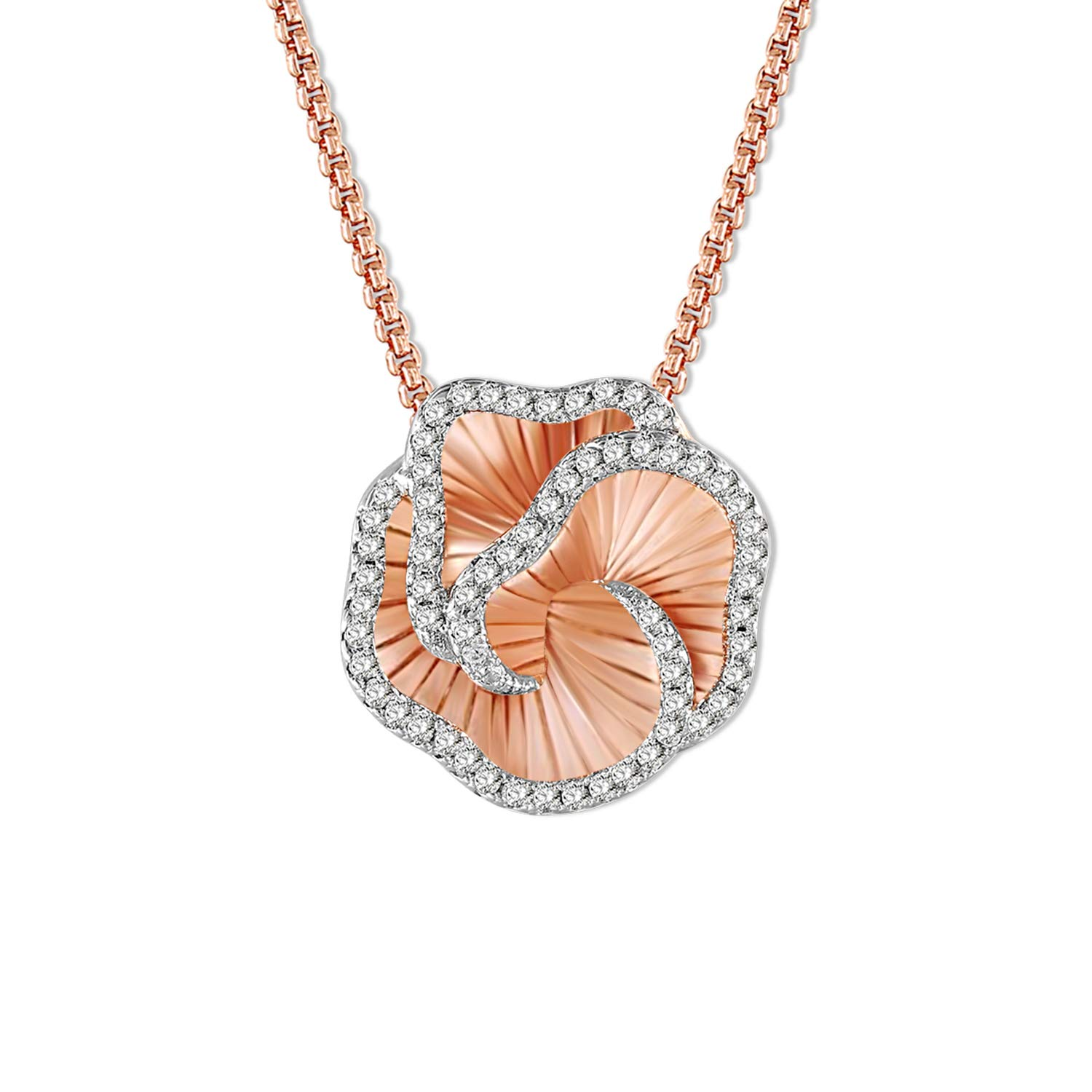 SNZM 3D Rose Flower Pendant Necklace for Women Cubic Zirconia Rose Gold Necklace for Mom Wife