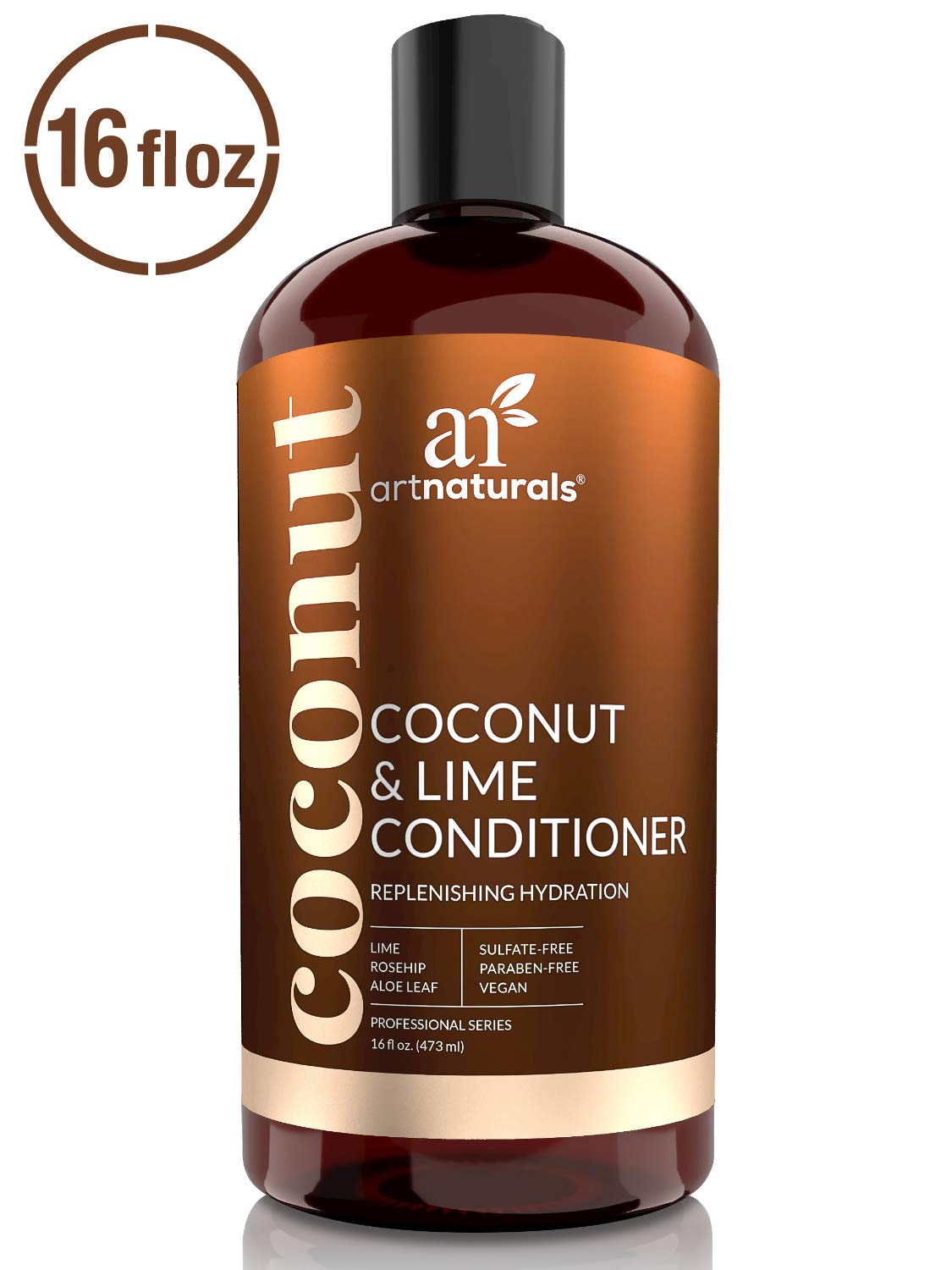 ArtNaturals Coconut-Lime Daily Conditioner– 16 Fl Oz - Professional Deep Hydrating Moisturizing For Curly Fine Oily Dry Damaged and Color Treated Hair – Natural, Sulfate Free and Vegan