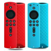 2 Pack Covers for All-New Alexa Voice Remote for Fire TV Stick 4K, Fire TV Stick (2nd Gen), Fire TV (3rd Gen) Shockproof Protective Silicone Case (Sky+Red)