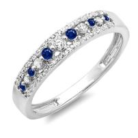 Dazzlingrock Collection 10K Round Gemstone & Diamond Ladies Anniversary Wedding Band Ring, White Gold
