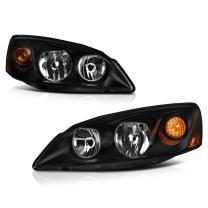 VIPMOTOZ Black Housing OE-Style Headlight Headlamp Assembly For 2005-2010 Pontiac G6, Driver & Passenger Side