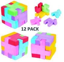CUZAIL Party Favors - Puzzle Cube Eraser - Party Supplies School Eraser - 12 Cubes Brain Teaser Puzzle Fun - Assorted Colors