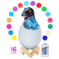 Dinosaur Night Light - Dinosaur Egg Lamp with Remote and Wood Stand Dimmable and USB Rechargeable Night Light for Kids T-rex Figure Toy Kids Room Decor Dinosaur Bedside Lamp, Birthday