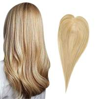 Full Shine Mono Human Hair Toppers 12x6CM Clip in Crown Hair Piece Straight Toupee for Thinning Hair Color #27 Highlighted With #613 Blonde 12 inch Invisible Hairline 30g