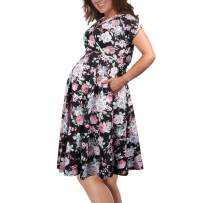 KIMILILY Women's Floral Short Sleeve Summer Maternity Nursing Breastfeeding Dress with Pockets