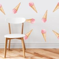 Ice Cream Fabric Wall Decals - Set of 10 Colorful Icecream Pattern Décor, Kids Room, Nursery Decal Peel and Stick Graphic