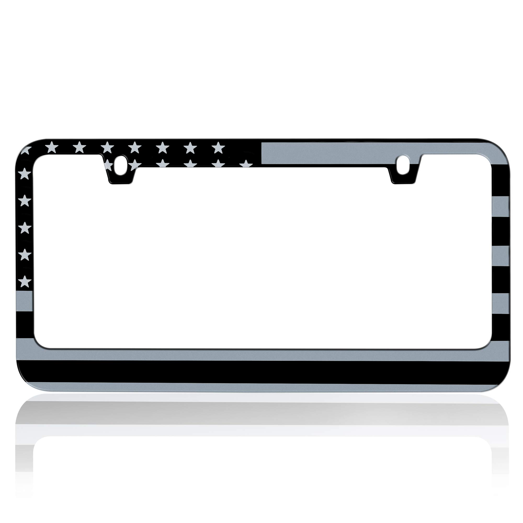 Heavy Duty Rust-Proof Stainless-Steel Metal Matte Plated American USA Flag Subdued 3D Stars and Stripes License Plate Frame Universal Size for Car Truck SUV