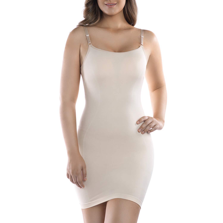 +MD Women's Spaghetti Strap Shapewear Full Slip Light Control Seamless Full Body Shaper for Under Dresses