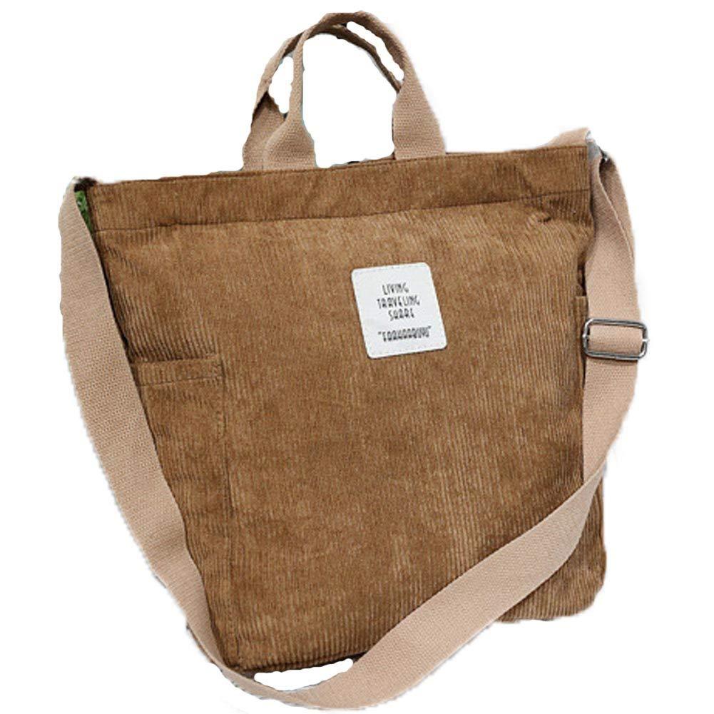 Corduroy Tote Bag - WantGor Upgrade Women's Crossbody Shoulder Handbags Big Capacity Shopping Bag