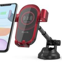 Quntis Wireless Car Charger, 10W/7.5W Qi Fast Charging Press-Locking Car Mount, Wireless Charger Phone Holder for Car Windshield Dashboard, Fit for 11 Pro Max Xs XR X 8, Galaxy S10 Note 9 S9 S8 - Red