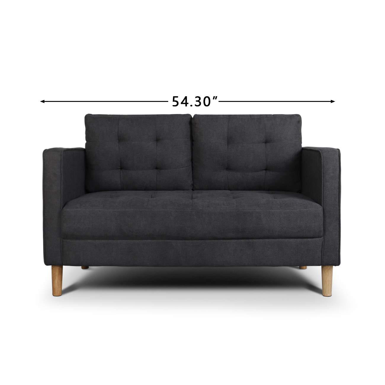 "AODAILIHB Modern Soft Cloth Tufted Cushion Loveseat Sofa Small Space Configurable Couch 54.3"" (Dark Grey)"