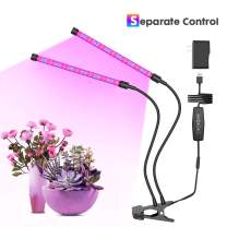 GROSSYLAND LED Grow Light for Indoor Plants 2 Heads 36 LED Lamps with Red Blue Spectrum, 3/6/12H Timer, 6 Dimmable Levels, Adjustable Gooseneck, 3 Switch Modes