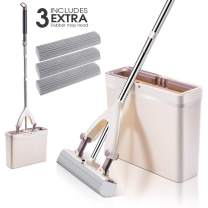 Sponge Mop and Bucket with 3 Pcs Super Absorbent PVA Sponge Head Self Cleaning Lazy Floor Mop Bucket with Washing Drying and Storage