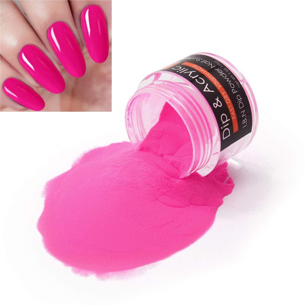 2 in 1 Nail Dip Powder Acrylic Powder (Added Calcium and Vitamin) I.B.N Dipping Powder Color Magenta, 1 Ounce/28g, No Need Nail Lamp Dryer (021)