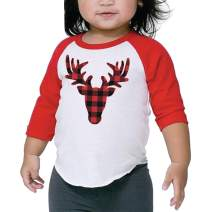 Bump and Beyond Designs Toddler and Kids Buffalo Plaid Deer Christmas Shirt Boy and Girl 3/4 Sleeve Holiday Raglan