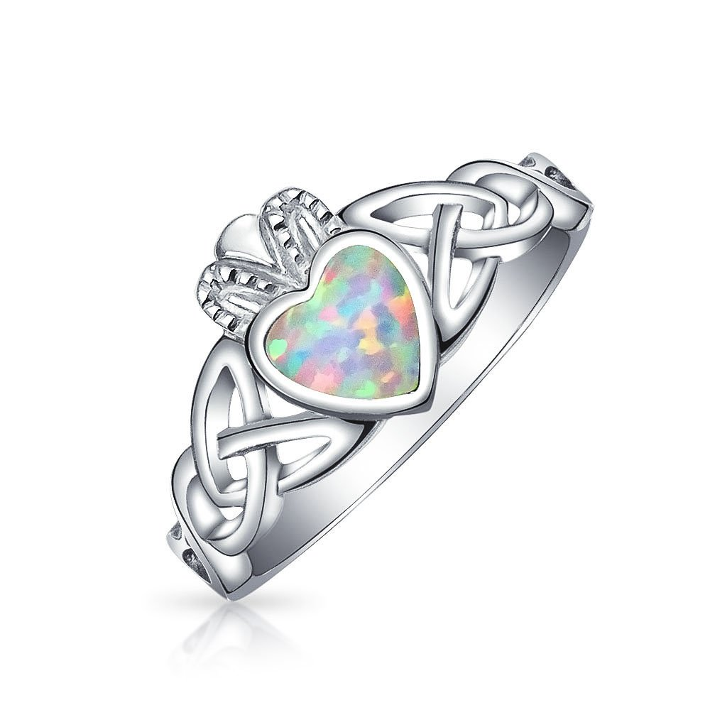 BFF Celtic Irish Friendship Couples Promise Bezel Created Opal Claddagh Ring For Women For Girlfriend October Birthstone