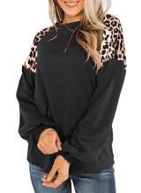 Womens Leopard Print Long Sleeve Shirts Fall Casual Crewneck Color Block Tops Sweatshirts