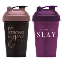 Motivational Quotes on Performa Perfect Shaker Bottle, 20 Ounce Classic Protein Shaker Bottle, Actionrod Mixing, Dishwasher Safe, Leak Proof (BeYoutiful Black/Rose & Slay Plum - 2 pack)