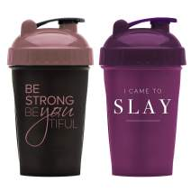 Motivational Quotes on Performa Perfect Shaker Bottle, 20 Ounce Classic Protein Shaker Bottle, Actionrod Mixing, Dishwasher Safe, Leak Proof (BeYoutiful Black/Rose & Slay Plum - 2 pack)