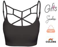 Crisscross Seamless Padded Bralette – Caged Cami Top with Removable Pads Small to Plus Size