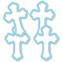 Little Miracle Boy Blue & Gray Cross - Decorations DIY Baptism or Baby Shower Party Essentials - Set of 20