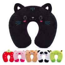 H HOMEWINS Travell Pillow for Kids Toddlers - Soft Neck Head Chin Support Pillow, Cute Animal, Comfortable in Any Sitting Position for Airplane, Car, Train, Machine Washable, Children Gifts (Cat)