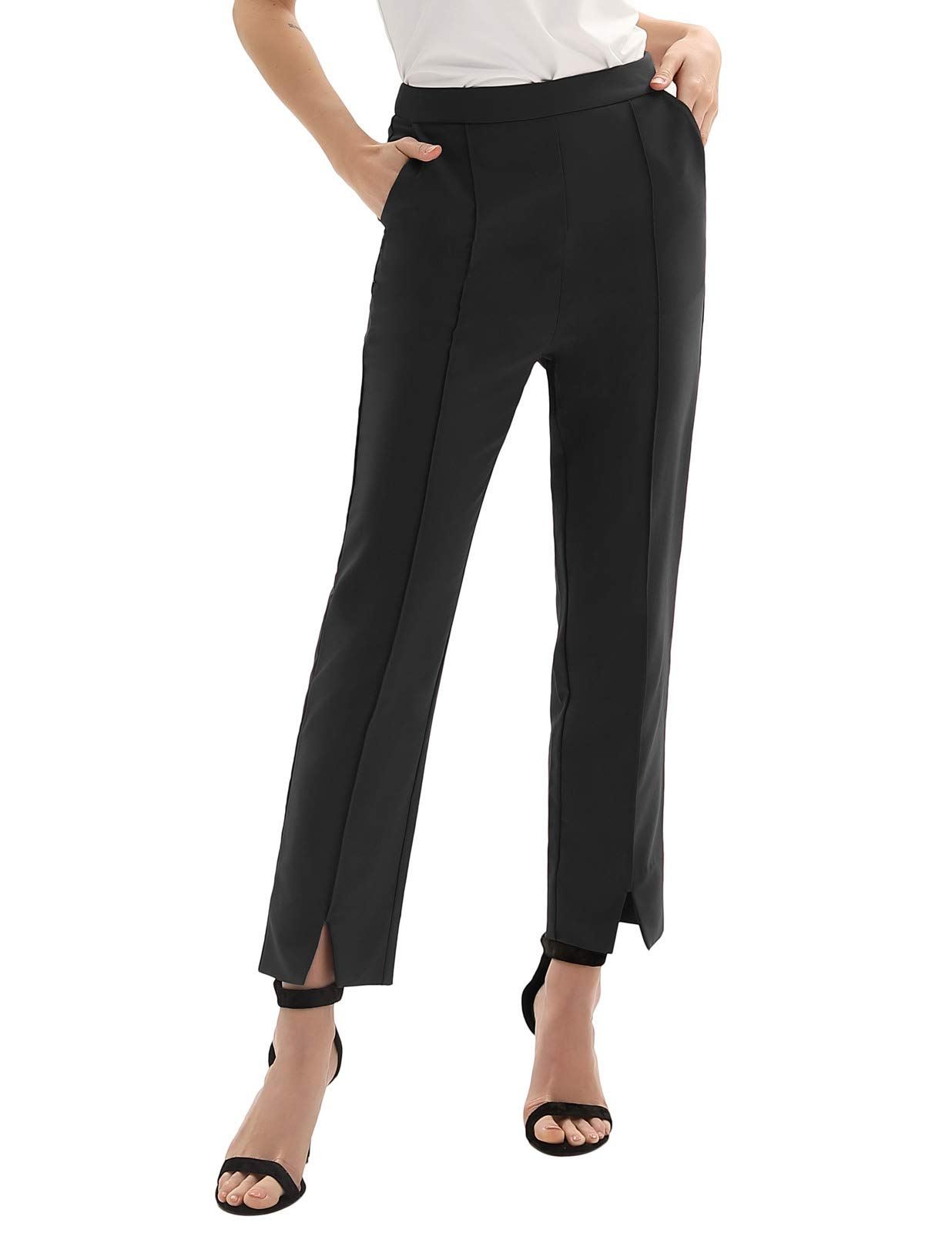 GRACE KARIN Womens Casual Business Dress Pants Ankle Cropped Pant Tummy Control Black XL
