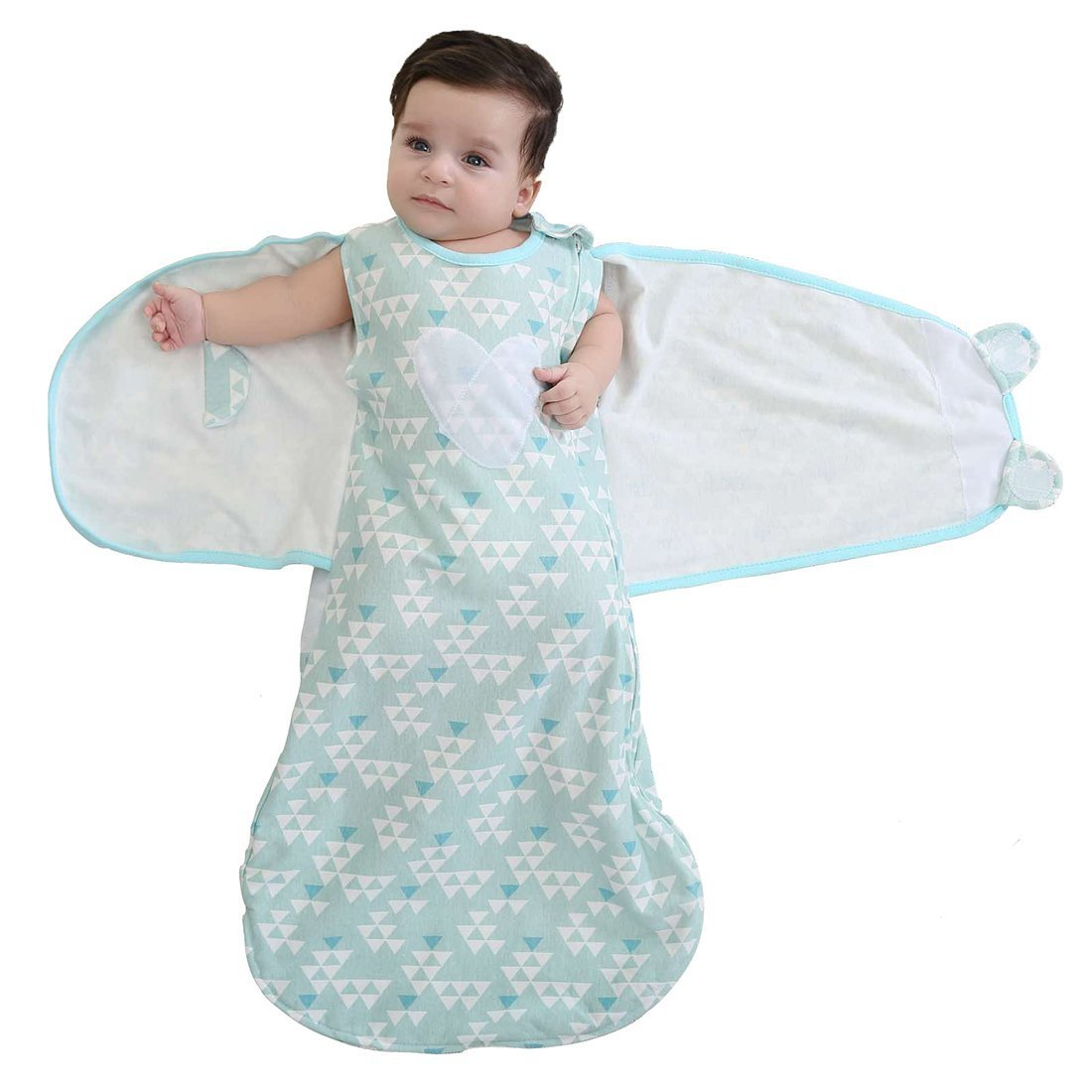 Enrich YLife Baby 100% Cotton Sleeping Bag Swaddle Wearable Blanket for Boys and Girls, 4 Season, 3-12 Months (Green)