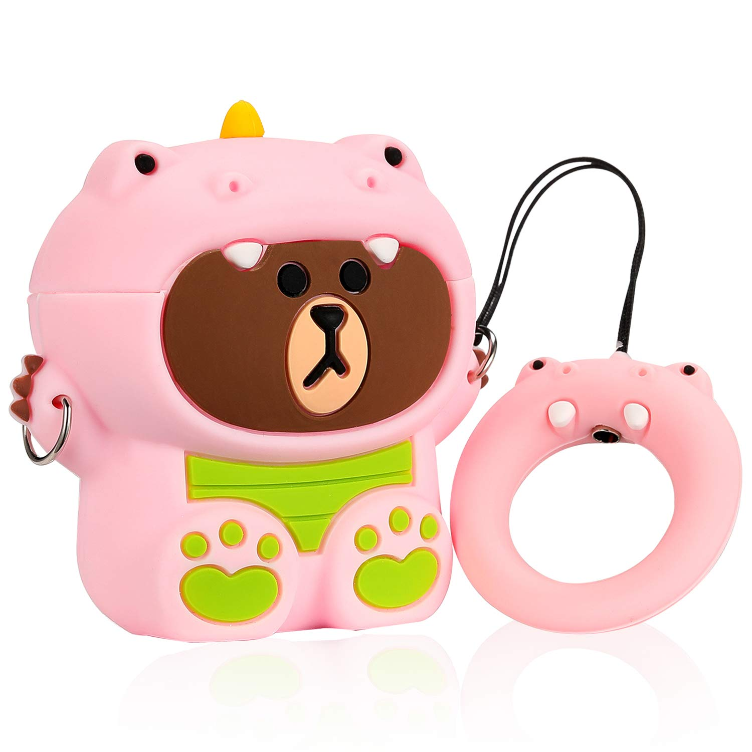 Joyleop Rabbit Pink Case Compatible with Airpods 1/2, Cute Cartoon Fun Funny 3D Animal Kids Girls Teens Cover, Kawaii Cool Stylish Fashion Soft Silicone Character Airpod Skin Cases for Air pods 1&2