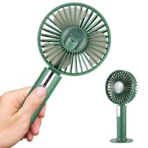 YOLIFE Portable Mini Handheld Fan, USB Desk Fan with Removable Base, Small Personal Table Fan with USB Rechargeable Battery, 3 Speed Cooling Electric Fan for Travel Office Room Household - Green