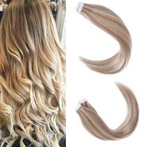 """Sindra Tape in Hair Extensions Human Hair Skin Weft Piano Color 10/613 Blonde 50g/sets 20 Pieces 18"""" Inches"""
