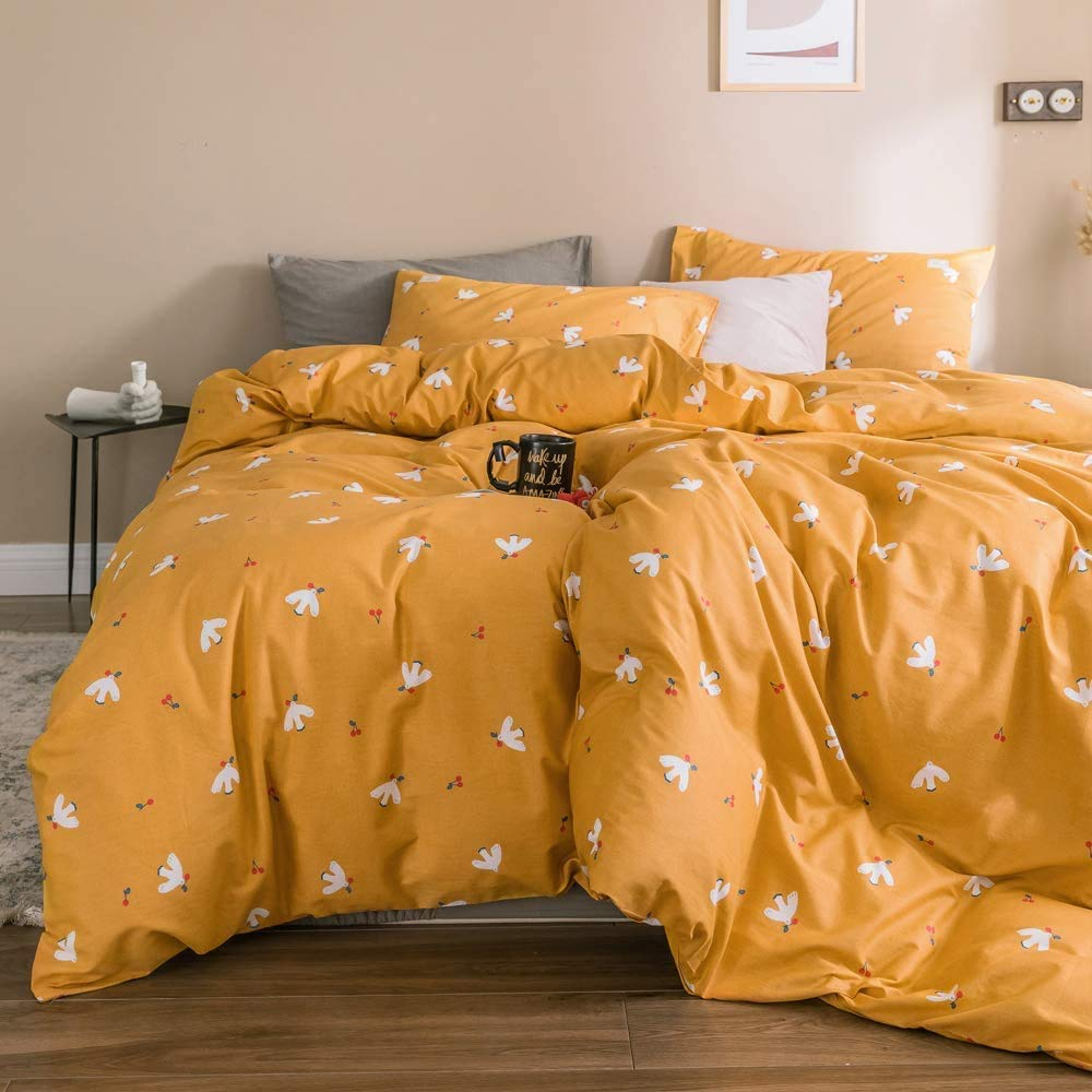 PinkMemory King Patterned Duvet Cover Set Yellow, 100% Natural Cotton Bedding Set King,White Peace Bird Pattern Farmhouse Bedding Cover Set Ultra Soft Breathable Durable