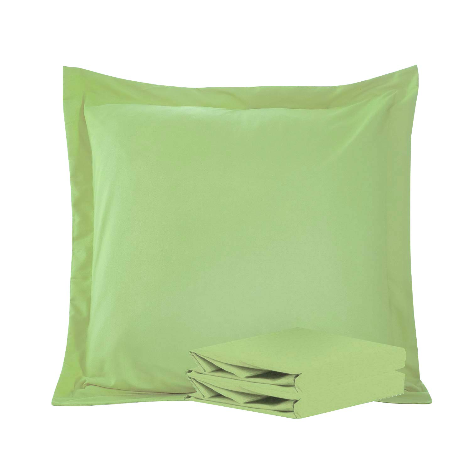 """NTBAY 100% Brushed Microfiber European Square Throw Pillow Cushion Cover Set of 2, Soft and Cozy, Wrinkle, Fade, Stain Resistant (Euro 26""""x26"""", Sage Green)"""