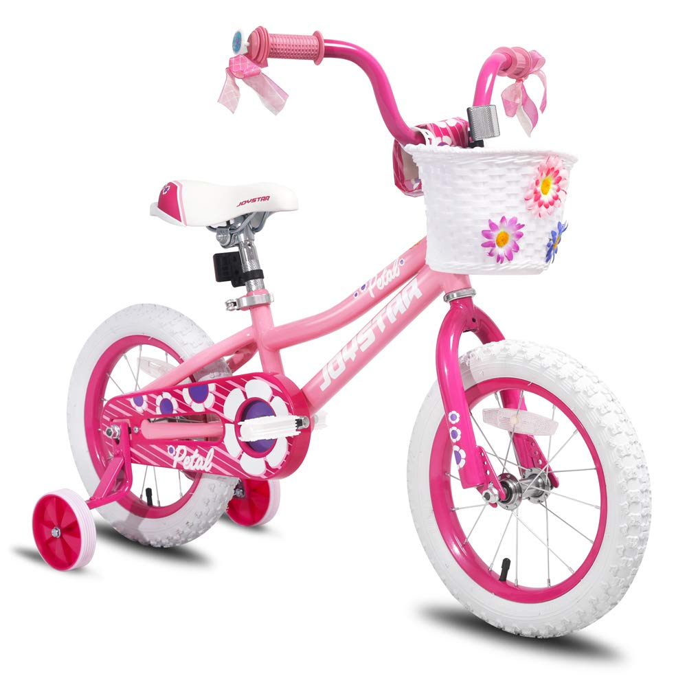 """JOYSTAR 12 14 16 Inch Kids Bike with Training Wheels for 2-7 Years Old Girls 32"""" - 53"""" Tall, Toddler Bike with 85% Assembled, Blue, Pink, Purple"""